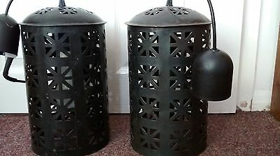 metal light shade lantern style black filigree Moroccan shabby chic x2 Habitat
