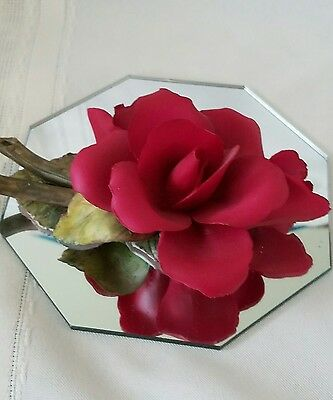 Fine Porcelain Red Rose Figurine with Bud and Green Foliage