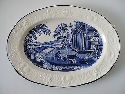 Extra Large Japanese Embossed Blue/white Ceramic Oval Plate/platter