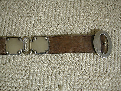 Sterling silver and leather belt  fully hallmarked 1902