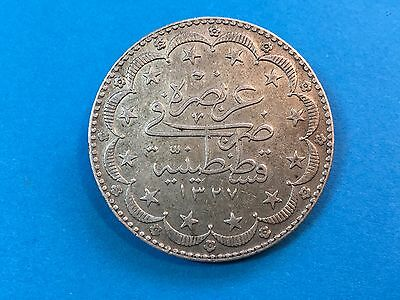 1327 Turkey Muhammad V Ottoman Empire 20 Kurush Silver Coin
