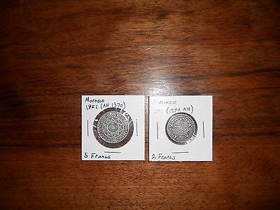 Morocco coins - lot of 2, 1951 (AH 1370), 2 francs and 5 francs