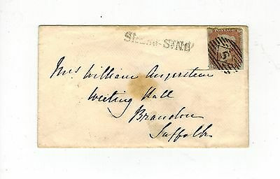 GB QV 1848 COVER IMPERF 1d RED STAMP SLOANE ST. LINE CANCEL & BRANDON CANCEL