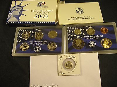 Uncirculated 1955 Silver Dime! With 2003-S Proof Set