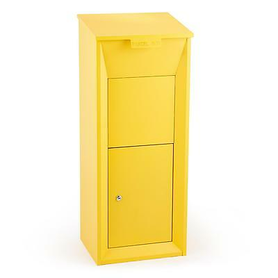 Postbox Parcel Mailing Box Floor Stand Door Buffer Lockable Yellow Office Home