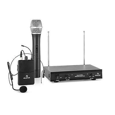 Auna 2 Channel Wireless Microphone Headset Hand Held 1Mic Speaker Pa Event Audio