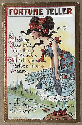 Vintage 1910 Signed DWIG Fortune Teller Looking Glass POSTCARD #1