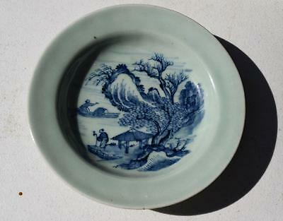 Antique Chinese Qianlong Celadon Blue and White Plate