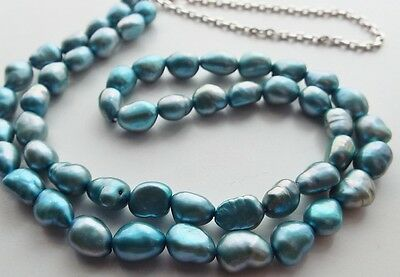 Beautiful Sterling Silver Iridescent Blue Baroque Fresh Water Pearl Necklace