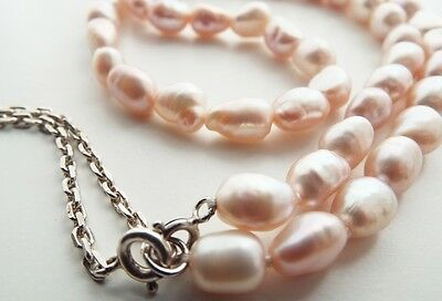 Beautiful Sterling Silver Irridescent Pink Baroque Fresh Water Pearl Necklace