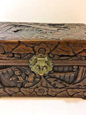Vintage Antique Handmade & Carved Philippines Wood Box Chest 1930s Dovetailed