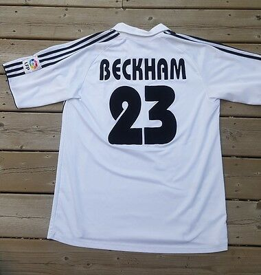 David Beckham #23 Real Madrid Soccer Football Jersey Large UEFA Champions Leauge