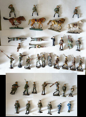 Toy soldiers. Germans . Composite. Massesoldaten. Elastolin and others.