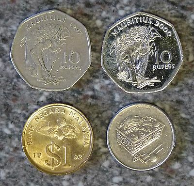 Collection of x4 Asian Malaysia Mauritius Coins