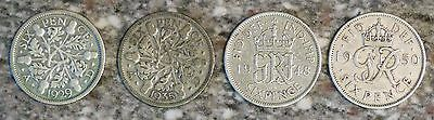 x4 SixPence Coins 1929, 35, 48 & 50