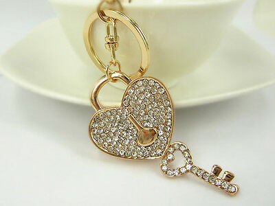 KC017 Love Lock Key Keyring Rhinestone Crystal Charm Pendant Key Bag Chain Gift