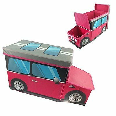Childrens pink Car Shaped Storage Box Chest Trunk Kids Room Toys Tidy Bedroom