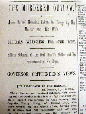1882 newspaper Outlaw JESSE JAMES is SHOT DEAD by BOB FORD at ST JOSEPH Missouri