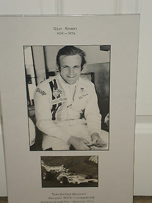Peter Revson 1939~1974 , B&W Portrait Photograph Mounted with SIGNED Photo