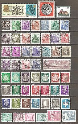 East Germany; 57 stamps, cancelled
