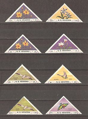 Croatia government in exile - 8 mint stamps - birds, flowers - issued 1952