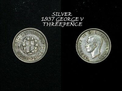 1937 George Vi Silver Threepence, In Better Condition,a109