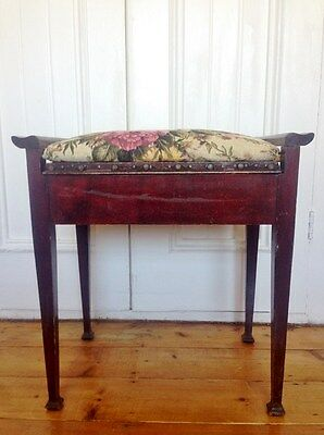 Charming Vintage Wooden Piano Stool Rose Floral Cover Cushion Under-Seat Storage