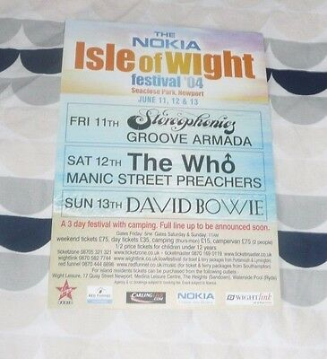 Isle of Wight UK Flyer 2004 FREE POSTAGE David Bowie The Who Stereophonics