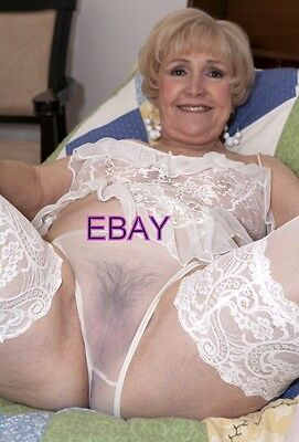 Mature Woman - Busty Wife,Granny, Sheer White Panties ,Hairy, Nylons 4x6 Photo