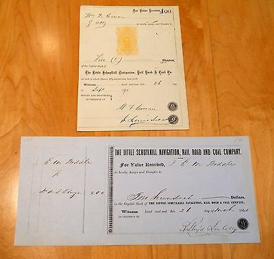 Two Little Schuylkill Navigation Railroad & Coal Company Stock Certificate PA