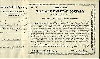 Seacoast Railroad Company Stock Certificate to  Philadelphia & Reading RR PA NJ