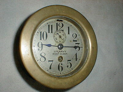 Antique Circa 1880-1910 Seth Thomas U.S.Navy Brass Boat Clock