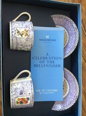 Wedgwood Millennium, Pair 2 Tea / Coffee Cups & Saucers, Bone China, Beatles ETC