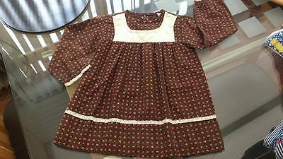 Retro Dress Baby 80cms age 12 months Long Sleeve Brown with Poppies