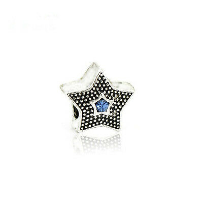 DIY 2Pcs European Silver star Charm Crystal Spacer Beads Fit Necklace Bracelet P