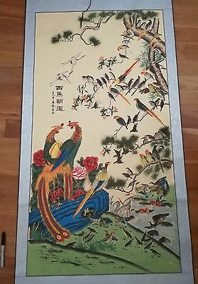 chinese oriental scroll painting exotic birds peacock crane river trees