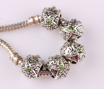 5pcs silver Starfish CZ big hole spacer beads fit Charm European Bracelet #A536