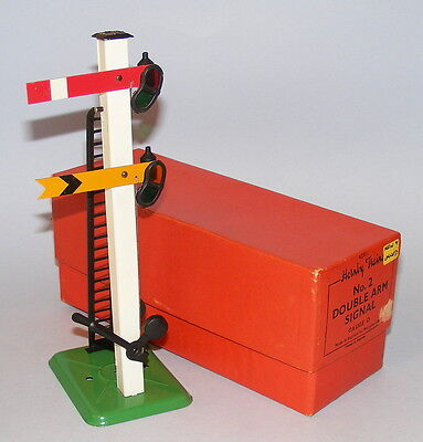 HORNBY O GAUGE POST WAR No.2 DOUBLE ARM SIGNAL NEAR MINT BOXED
