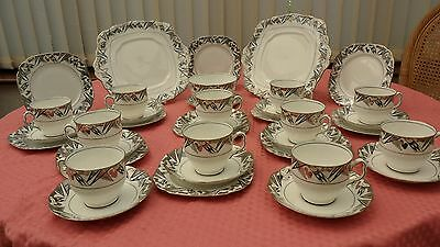 ANTIQUE c1929 ROYAL ALBERT CROWN CHINA 37pc TEA SET ART DECO SILVER BLACK RARISH