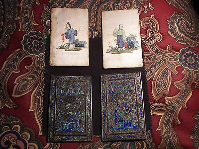 Chinese White metal enameled book cover 19th Century & 2 Original Pics on Silk!