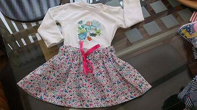 Floral Flared Skirt Baby age 12 - 18 months + Long Sleeve White Top. Bug Watch
