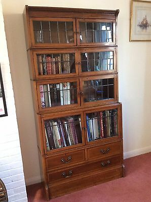 20th century bookcase, with leaded glass doors and drawers