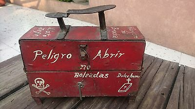 Old-Vintage Mexican Hand-Made Iron Tin Metal Shoemaker (Shoe Polish Box) Mexico