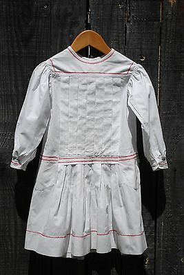 "Vintage French Edwardian Child""s Cotton Drop Waist Dress Age Approx 6 - 8 Vgc"