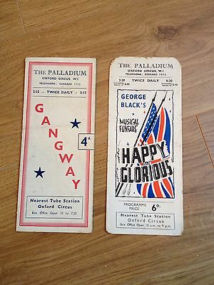 The Palladium Theatre Programmes 'Gangway' and 'Happy And Glorious'