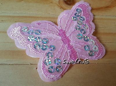 PINK Sequin Embroidered Butterfly Iron on Transfer Patch Applique Motif Badge