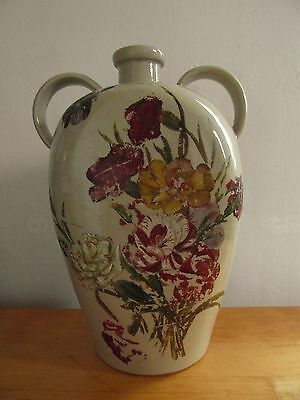 Large Vintage Stoneware Two Handled Flagon (with Paintings)