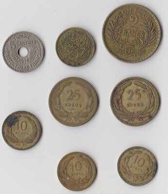 8 old coins from Turkey and Tunisia