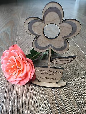 Personalised Teacher Flower Engraved Gift Thank You School End Of Term