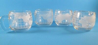 """Set of 4 Clear Glass Vintage Nescafe """"Taste Your Way"""" Coffee Mugs"""